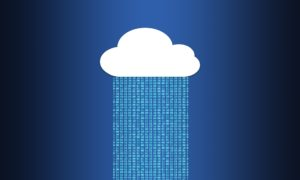 White cloud with 0s and 1s falling from it, Matrix style, to illustrate back-up and cloud computing